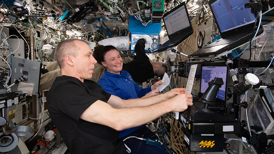 Astronauts Drew Feustel and Serena Auñón-Chancellor