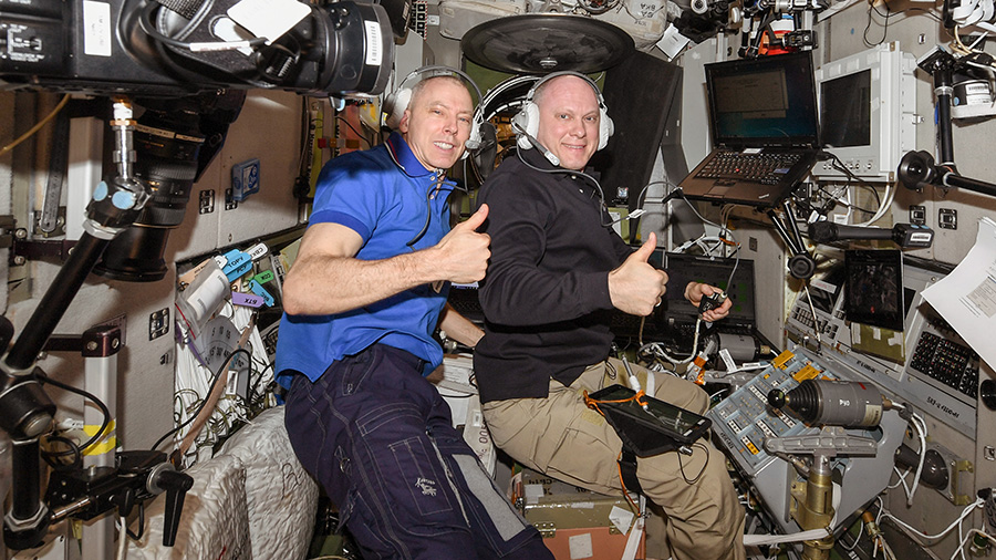 Expedition 56 crew members Drew Feustel and Oleg Artemyev