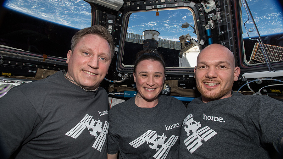 The three Expedition 57 crew members