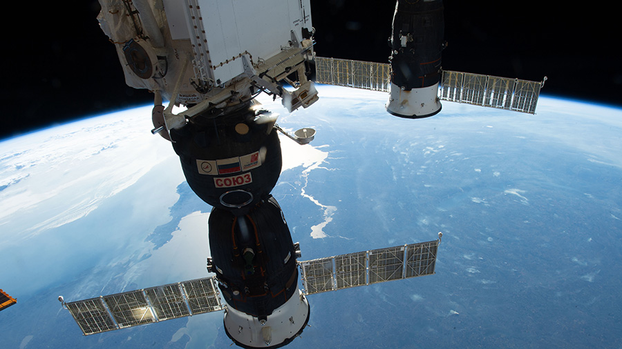 The Soyuz MS-09 crew ship (foreground) and the Progress 70 resupply ship