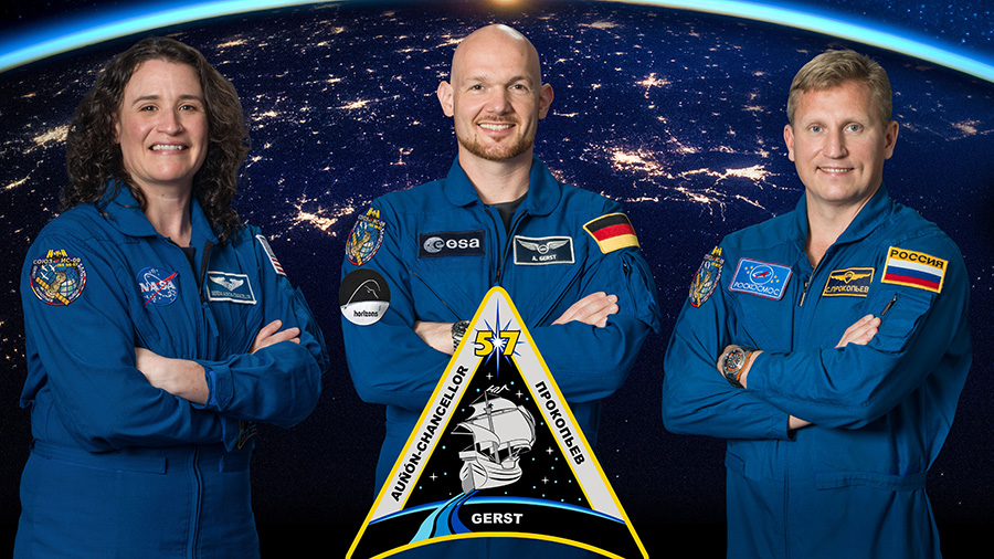 The three-member Expedition 57 crew