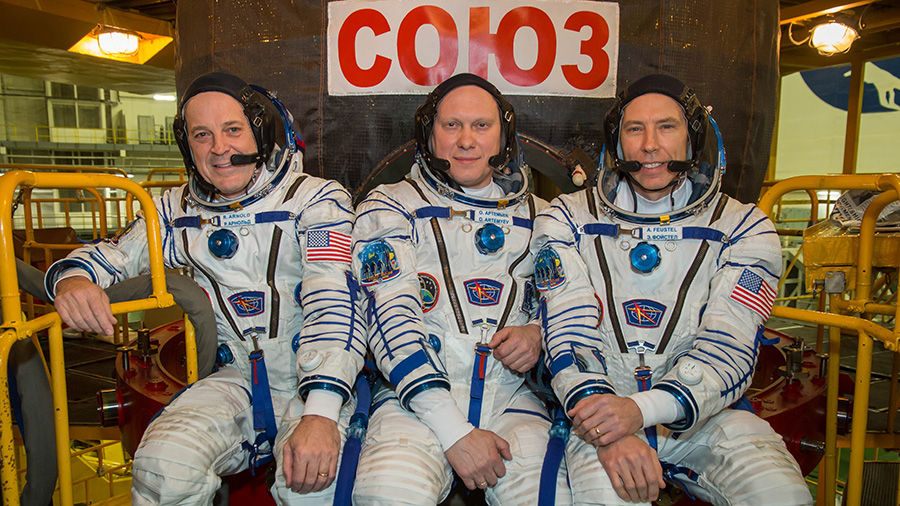 Expedition 55-56 crew members Ricky Arnold, Oleg Artemyev and Drew Feustel