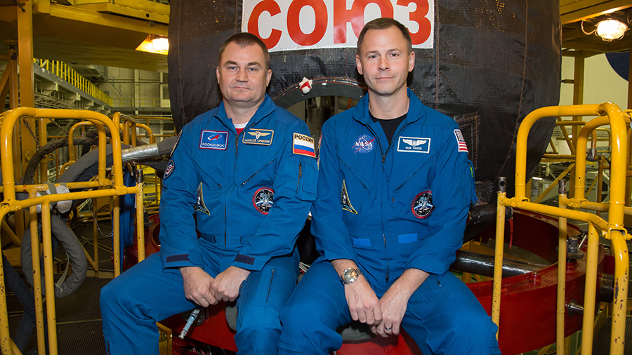 xpedition 57 crew members Alexey Ovchinin of Roscosmos (left) and Nick Hague of NASA