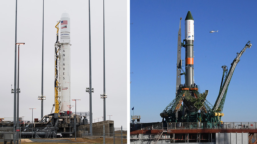 Two rockets stand at their launch pads on opposite sides of the world