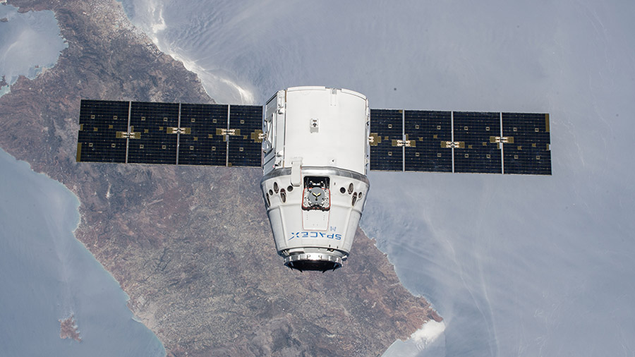 The SpaceX Dragon cargo craft is pictured in July of 2018
