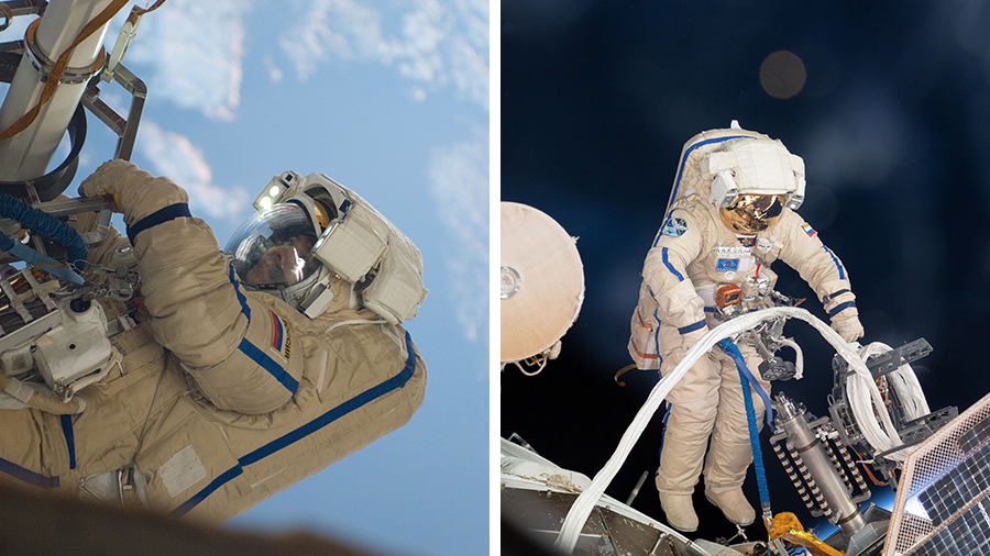 Spacewalkers Oleg Kononenko and Sergey Prokopyev