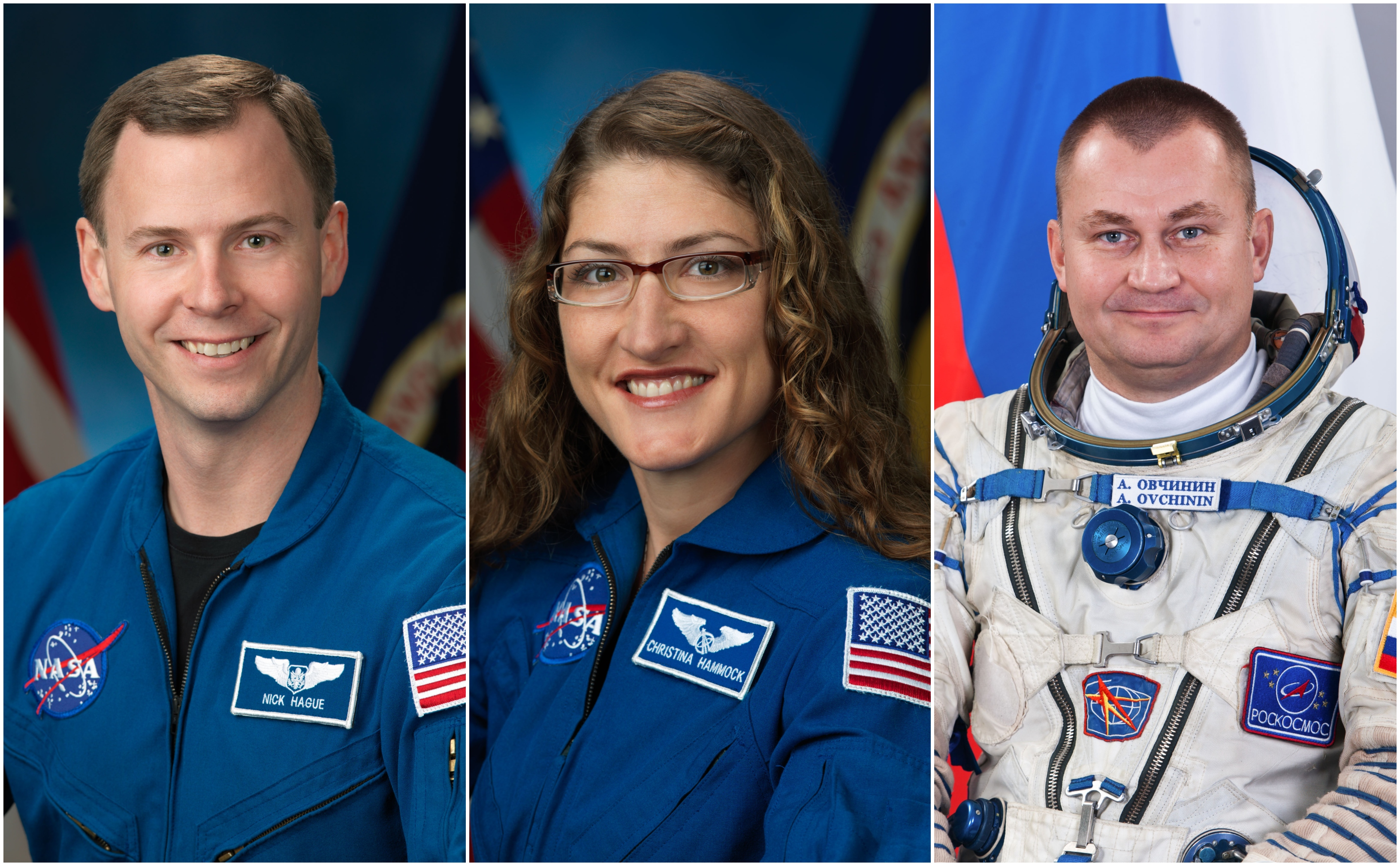 NASA astronauts (from left) Nick Hague and Christina Hammock Koch and cosmonaut Alexey Ovchinin