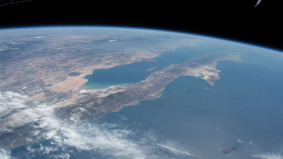 The coast of southern California and Baja California