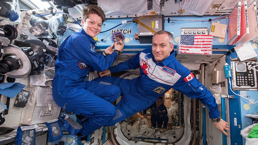 Expedition 58 Flight Engineers Anne McClain of NASA and David Saint-Jacques of the Canadian Space Agency