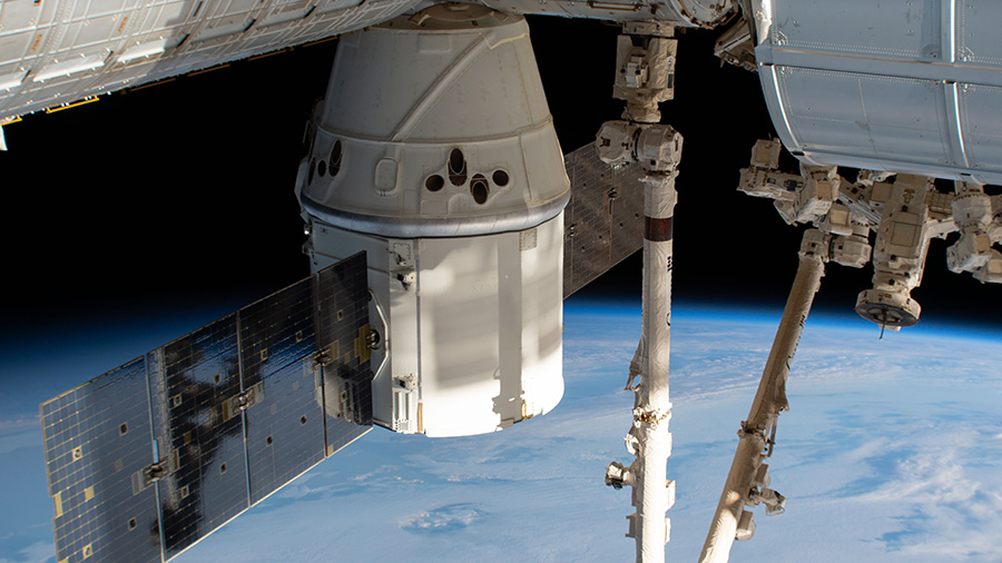 The SpaceX Dragon and Station above the Indian Ocean