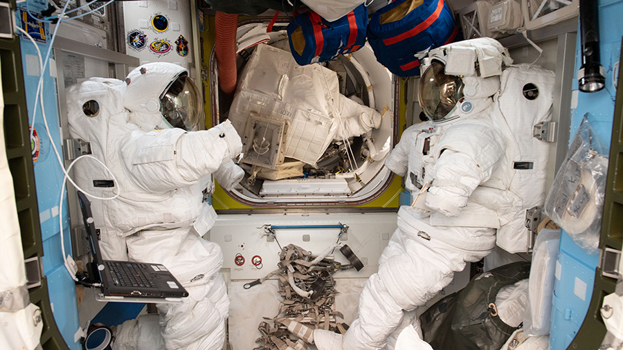 A pair of U.S. spacesuits