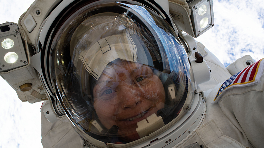"NASA astronaut Anne McClain takes a ""space-selfie"""