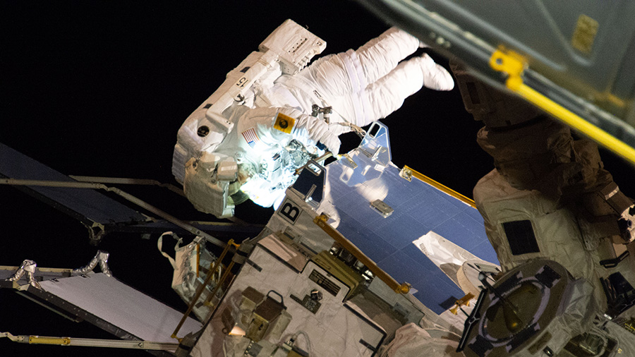 NASA astronaut Christina Koch participates in her first spacewalk
