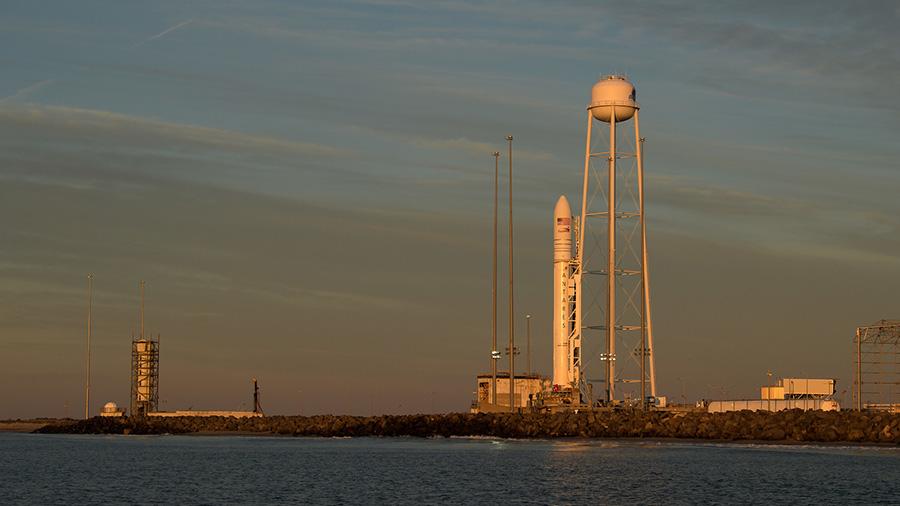 The Northrop Grumman Antares rocket carrying a Cygnus resupply spacecraft