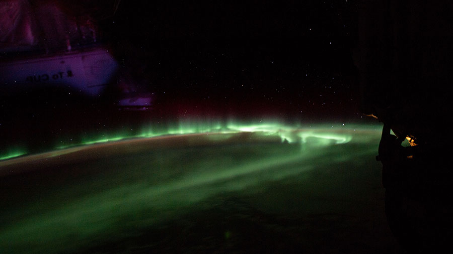 "The ""southern lights"" above the Indian Ocean"