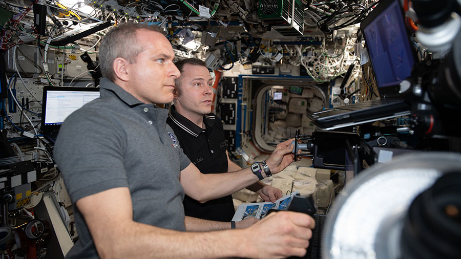 Astronauts David Saint-Jacques and Nick Hague