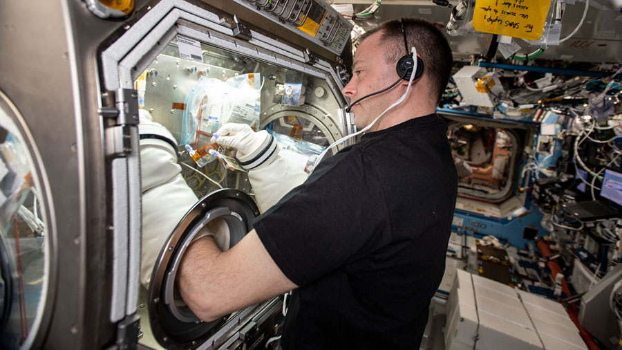 NASA astronaut Nick Hague conducts research operations