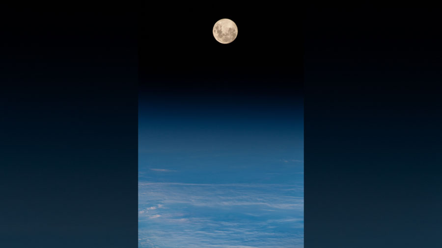 The full moon above the South Atlantic Ocean