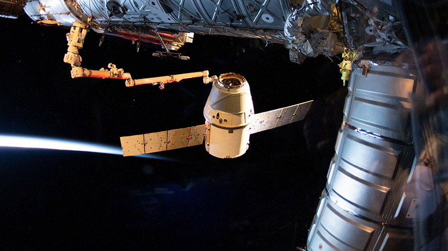The SpaceX Dragon cargo craft moments before its release
