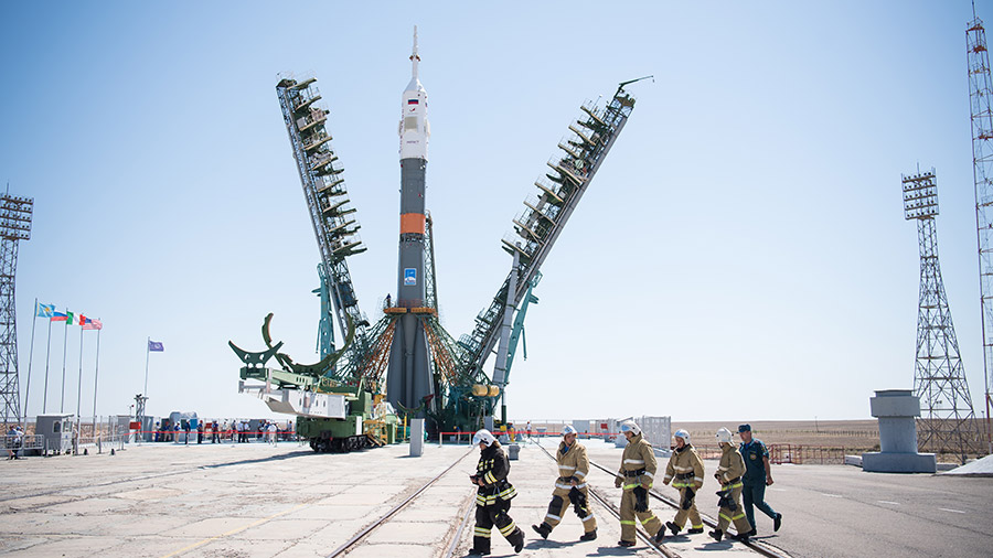 The Soyuz rocket stands at its launch pad in Kazakhstan