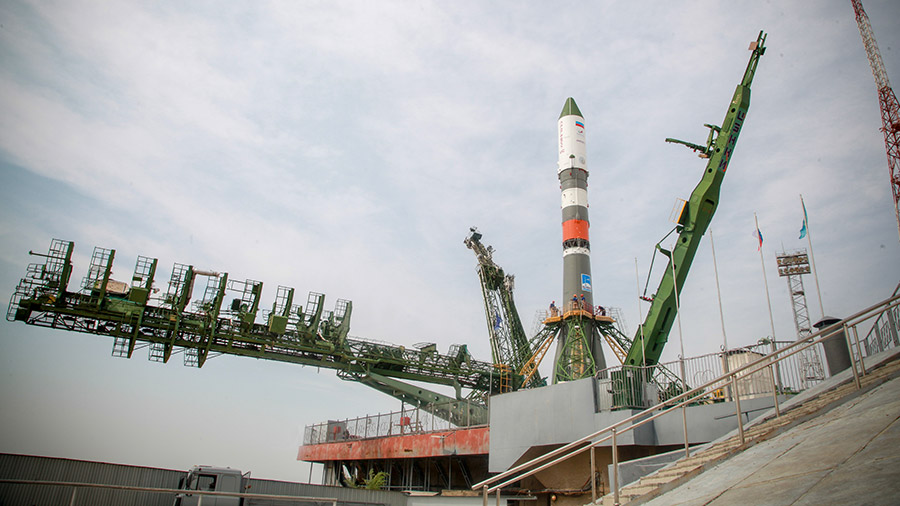 Russia's Progress 73 cargo craft stands at its launch pad