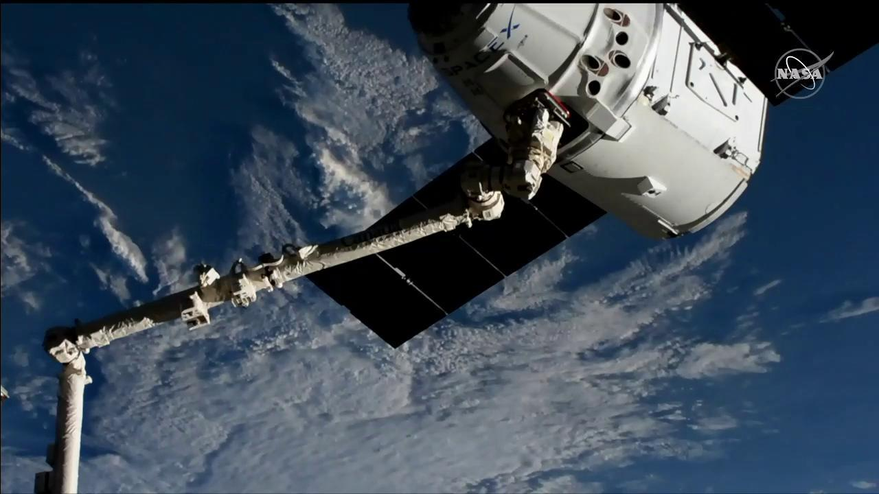 The SpaceX Dragon is in the grips of the Canadarm2 robotic arm