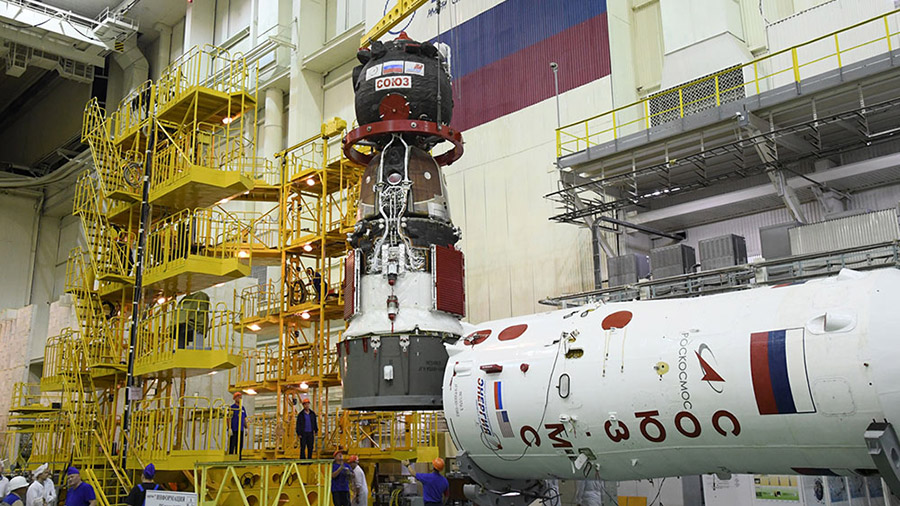 The Soyuz MS-13 spacecraft is processed launch