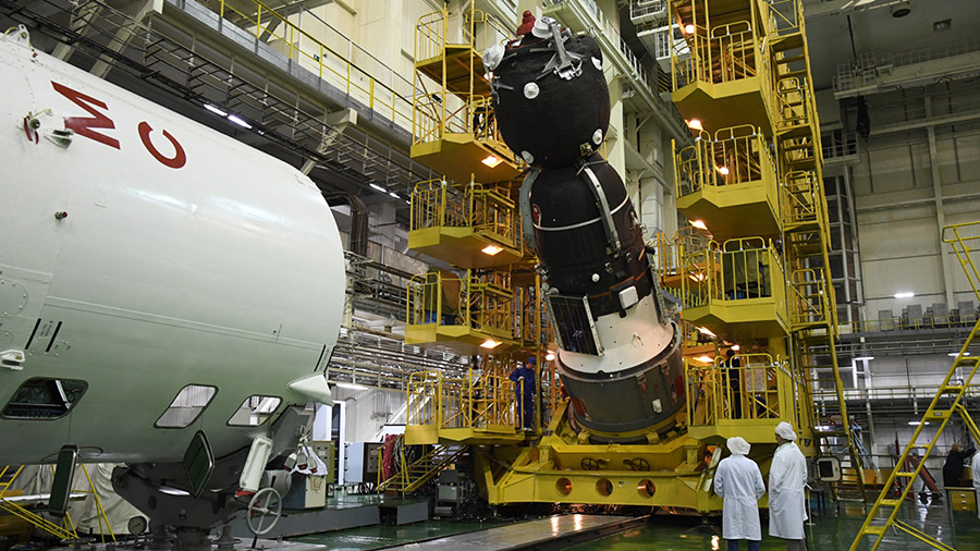 The Soyuz MS-14 spacecraft is processed for launch