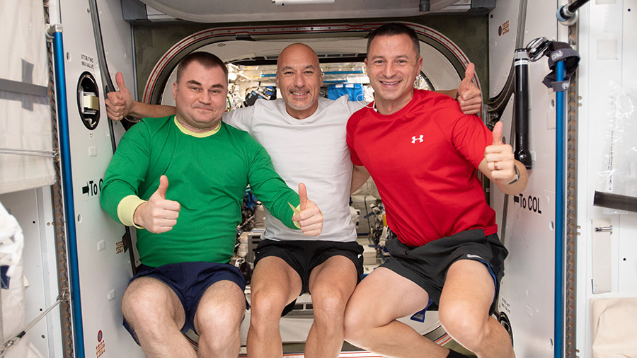 Expedition 60 crewmembers Alexey Ovchinin, Luca Parmitano and Andrew Morgan