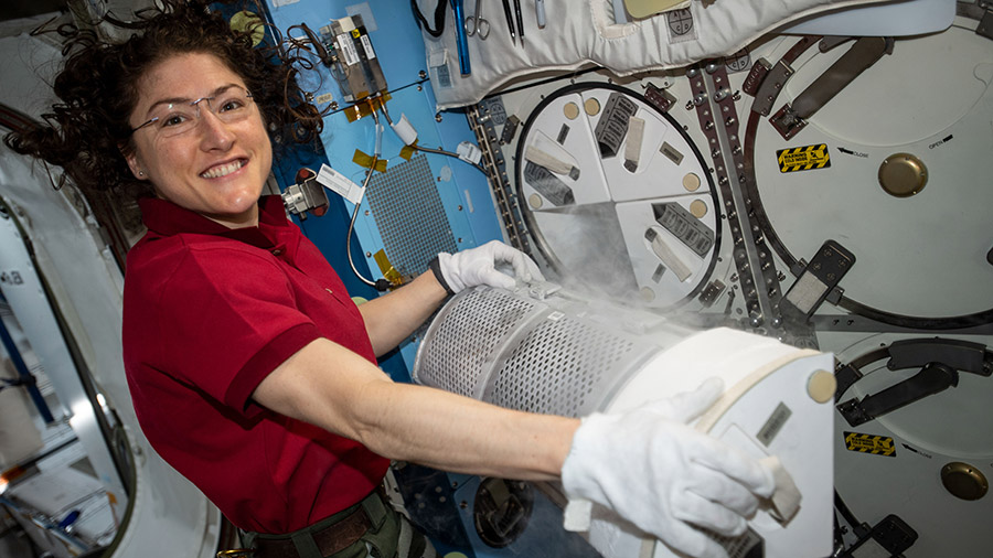 NASA astronaut Christina Koch conducts science operations