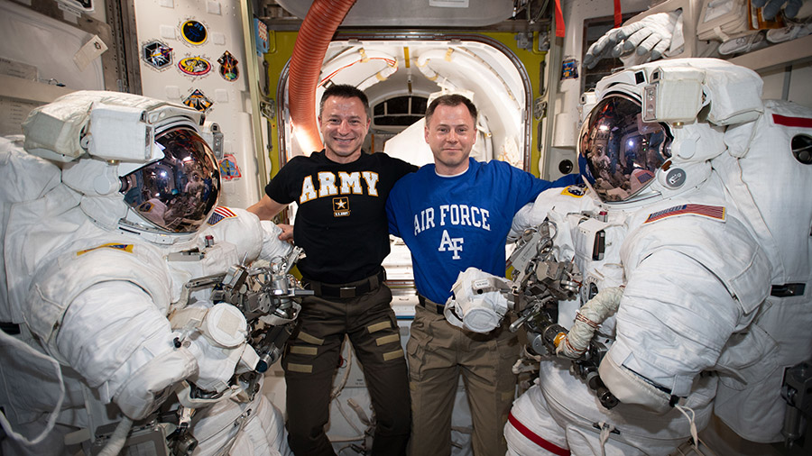 NASA astronauts (from left) Andrew Morgan and Nick Hague