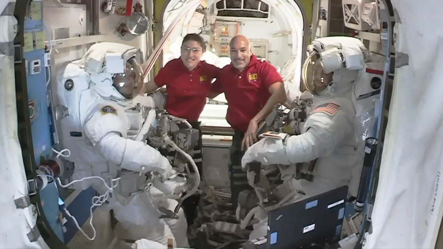Astronauts pose with spacewalkers