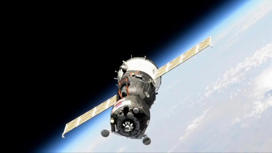 The unpiloted Soyuz MS-14 spacecraft
