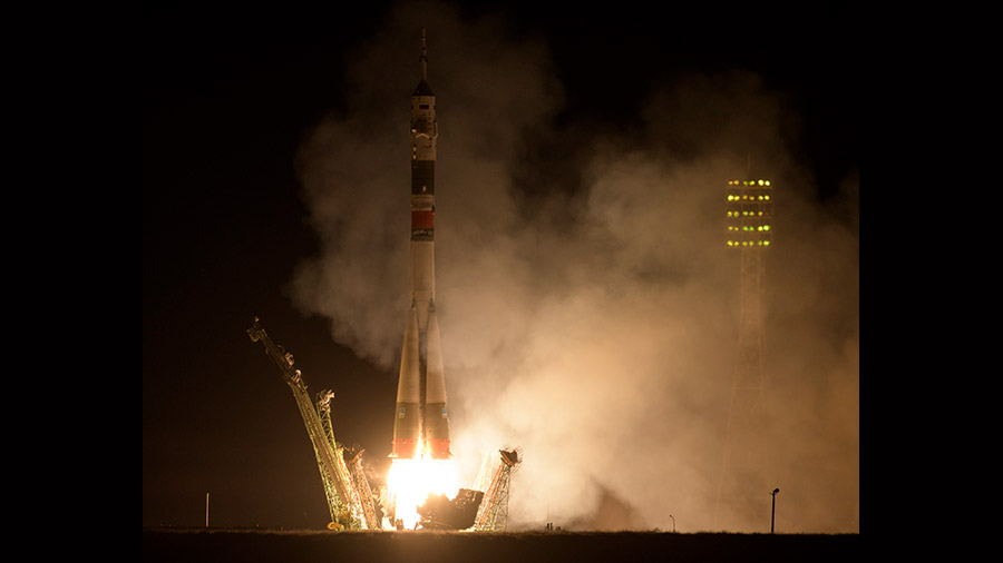 The Soyuz MS-15 rocket blasts off from Kazakhstan