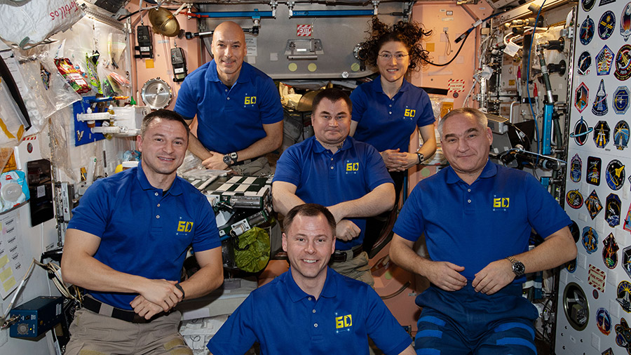 The six-member Expedition 60 crew from the United States, Russia and Italy
