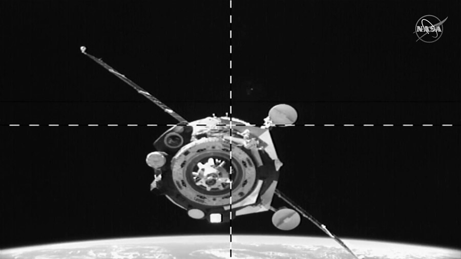 Soyuz MS-15 spacecraft approaches for a docking