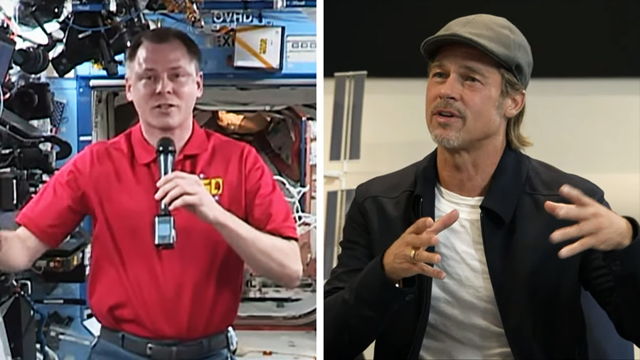 Astronaut Nick Hague and actor Brad Pitt