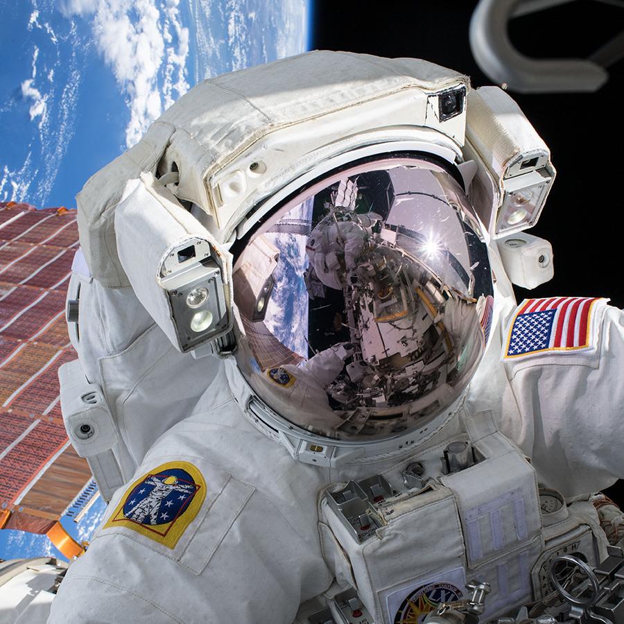 NASA astronaut Andrew Morgan conducts a spacewalk