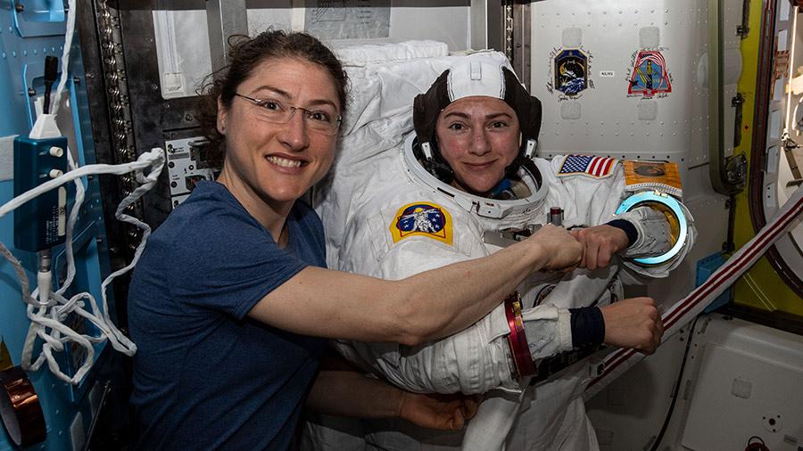 Astronauts Chrstina Koch (left) and Jessica Meir