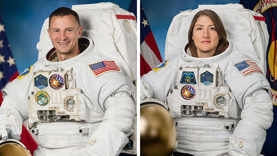 NASA astronauts Christina Koch and Andrew Morgan
