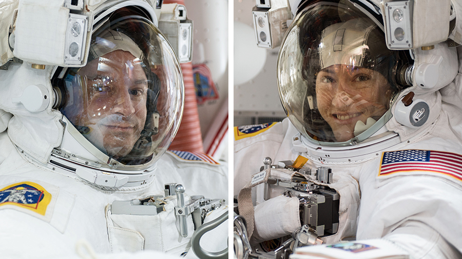 Astronauts Andrew Morgan and Christina Koch