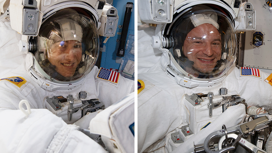 Astronauts Christina Koch and Andrew Morgan