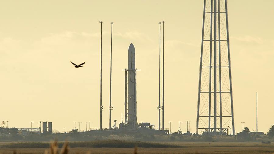 The Northrop Grumman Antares rocket with the Cygnus cargo craft inside