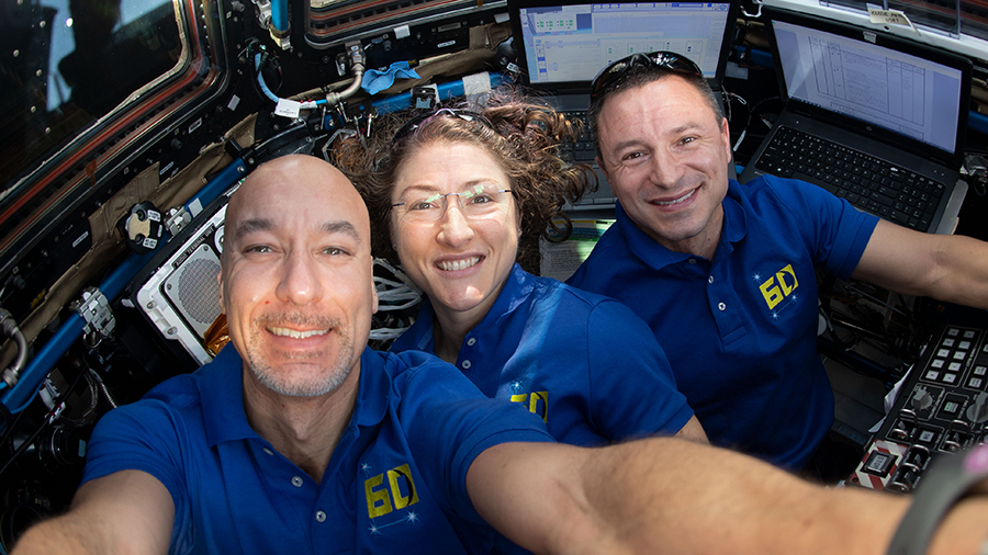 Astronauts (from left) Luca Parmitano, Christina Koch and Andrew Morgan