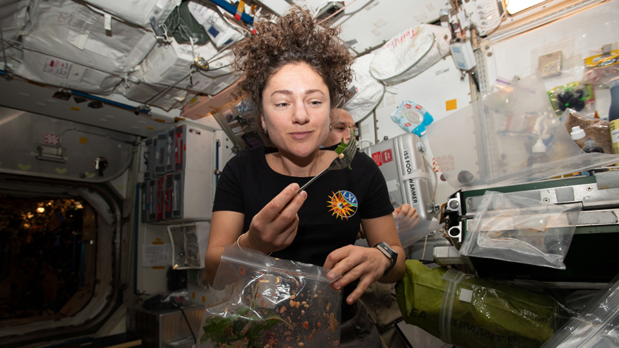 NASA astronaut Jessica Meir dines on fresh Mizuna mustard greens