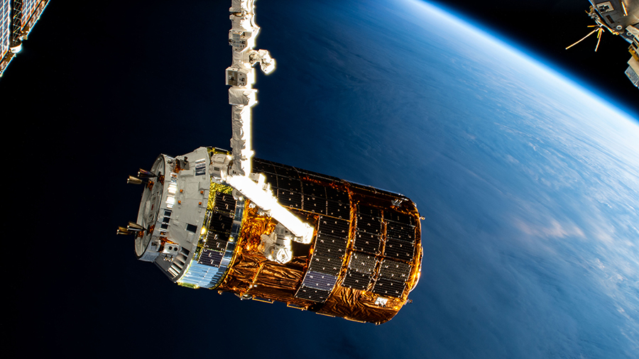 Japan's HTV-8 resupply ship before release from the Canadarm2