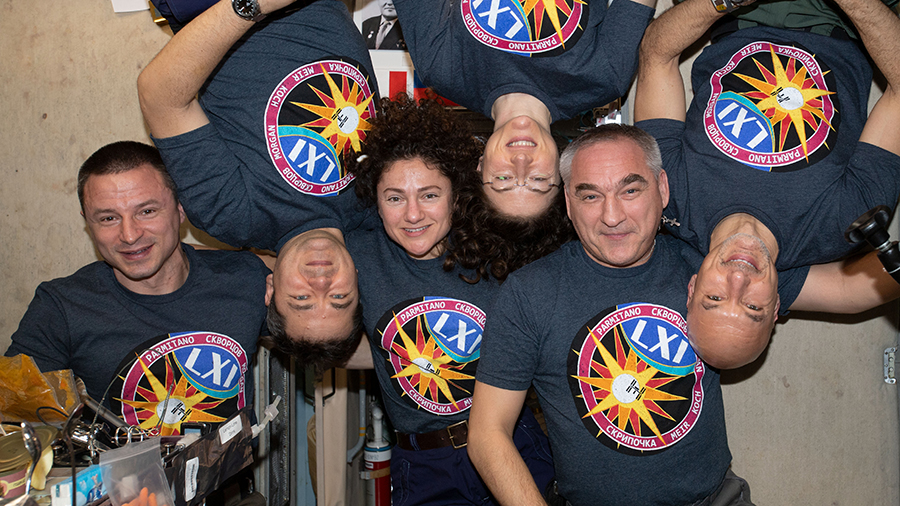 The six-member Expedition 61 crew