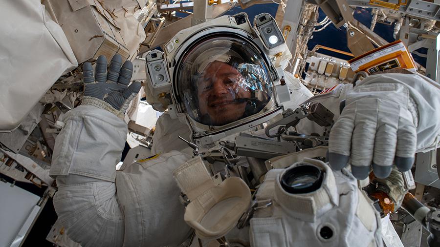 NASA astronaut Andrew Morgan waves
