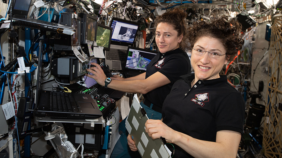 NASA astronauts (from left ) Jessica Meir and Christina Koch