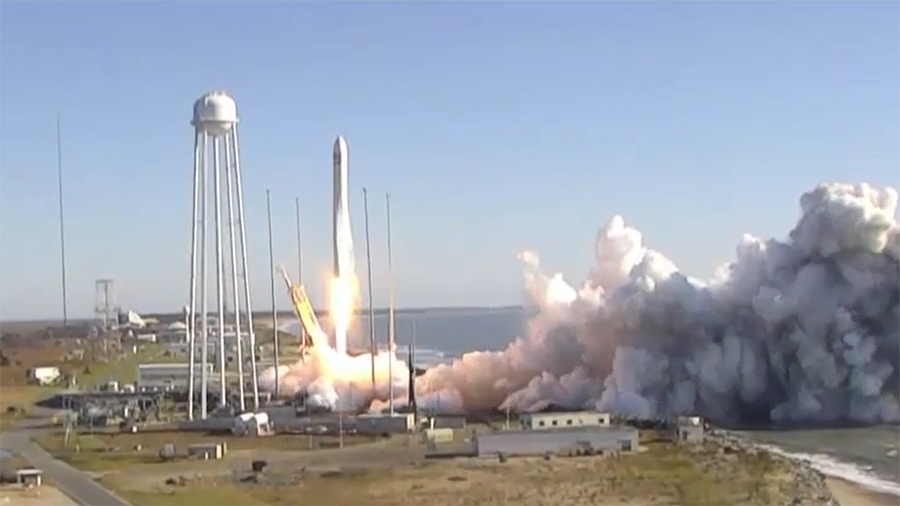 The Antares rocket lifts off on time